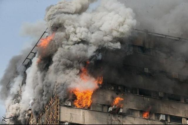 Fire breaks out in a high-rise building in Tehran, Iran January 19, 2017. Tasnim News Agency/Handout via REUTERS